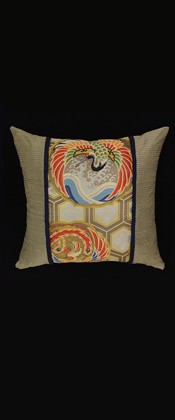PHOENIX and CRANE with GOLDEN HEXAGONS PILLOW