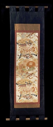 CHRYSANTHEMUM  and PINE in OPEN FANS WALL SCROLL