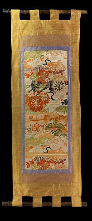 FLOWER CARTS with CRANES and PINE WALL SCROLL