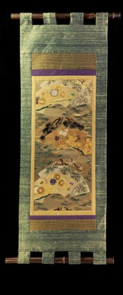 FANS woven with PINE and FLOWERS WALL SCROLL