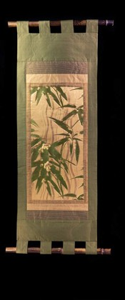 BAMBOO over WAVING LINES WALL SCROLL