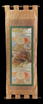 CHRYSANTHEMUMS with BLACK PINE NEEDLES WALL SCROLL