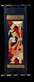 RED and GOLD ORIGAMI RIBBONS WALL SCROLL